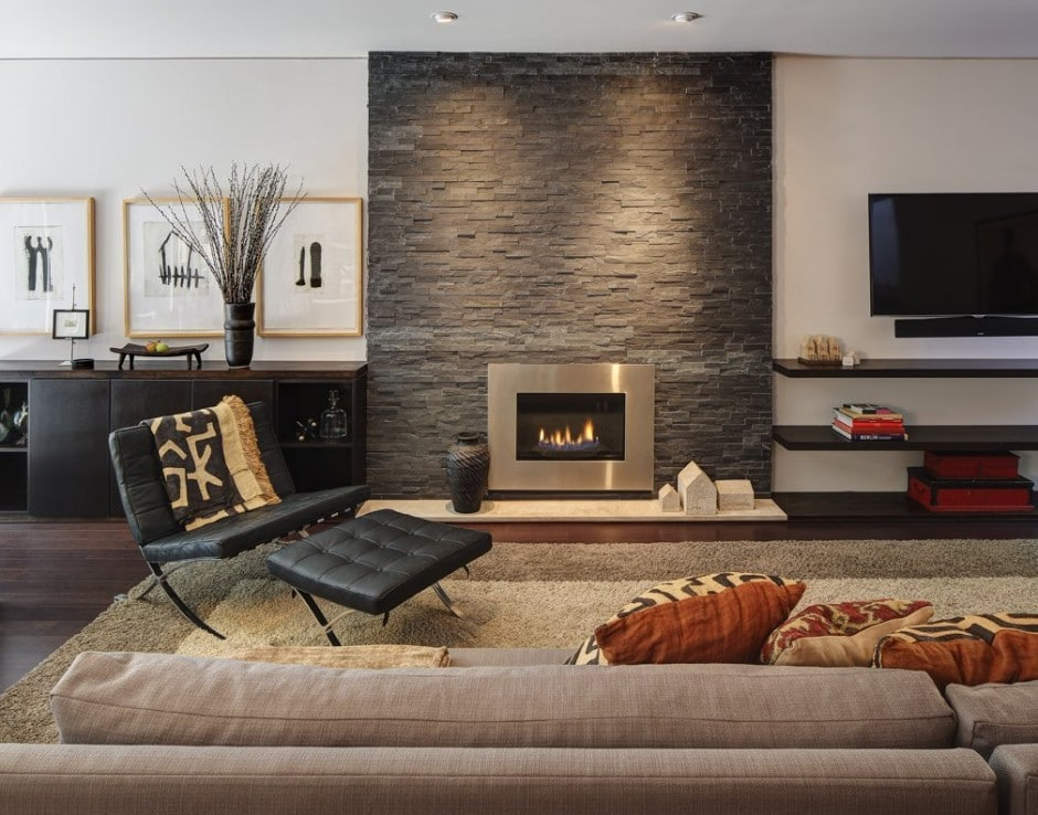 Dise o de chimenea moderna de piedra construye hogar - Diseno chimeneas modernas ...