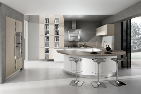Diseño de cocina con isla circular