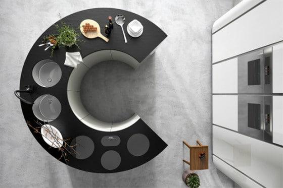 Diseño de cocina moderna con isla circular