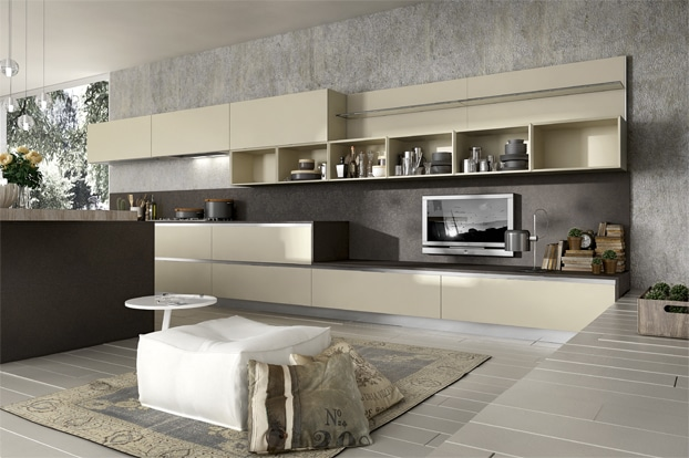 diseo de cocina moderna con televisor
