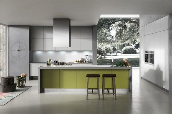 Diseño de cocina moderna en color gris y verde