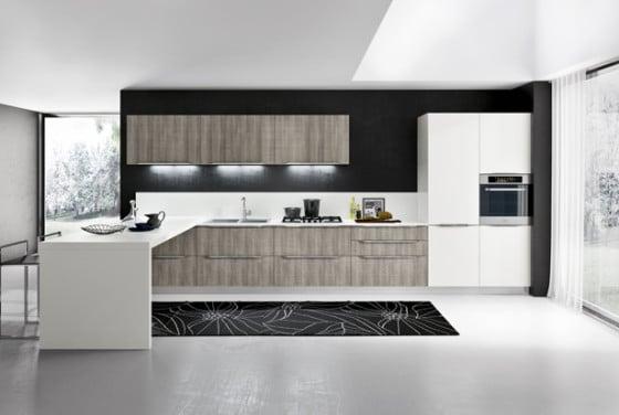 Diseño de cocina moderna  en dos colores