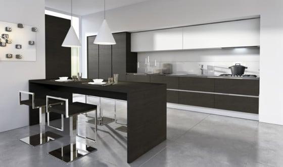 Diseño de cocina moderna en negro y blanco