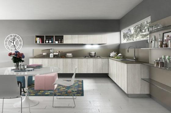 Diseño de cocina moderna color gris y rosado