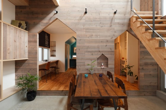 Diseño de comedor de casa de dos pisos