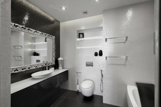 Diseño de cuarto de baño color negro
