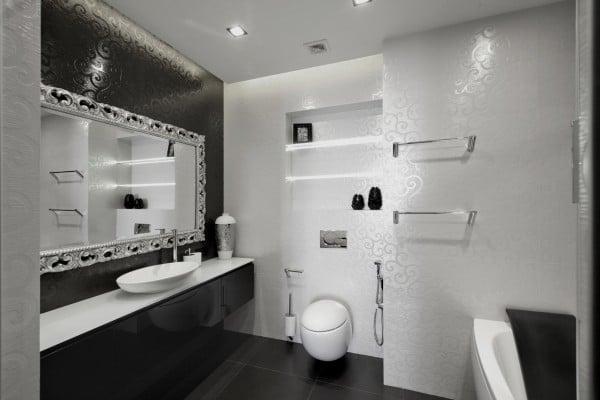 Dise o de moderno apartamento en color blanco y negro - Bano de color negro ...