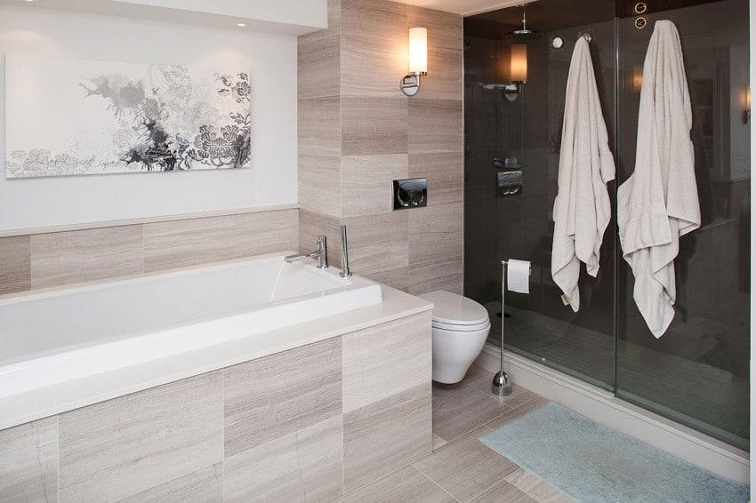 Decoracion De Baños Para Adolescentes:Diseño del cuarto de baño con muebles de madera de color nogal