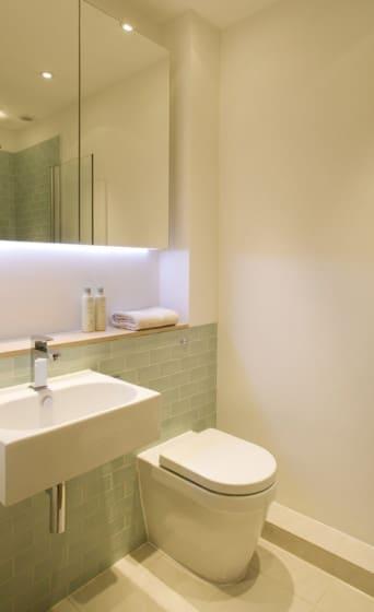 Cuarto de baño en casa angosta