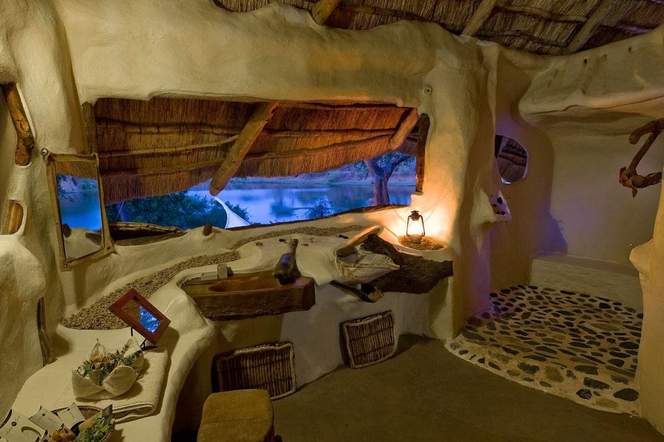 Iluminacion Baño Rustico:Diseño del cuarto de baño rústico, nota el diseño del lavadero de
