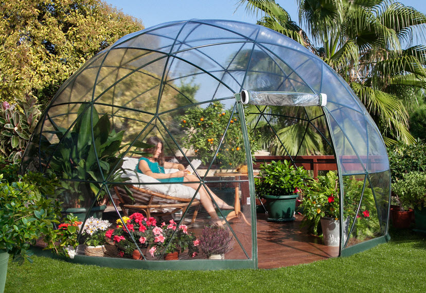Dise o de domo para terraza o jard n de casas fotos y for Casas de pvc para jardin