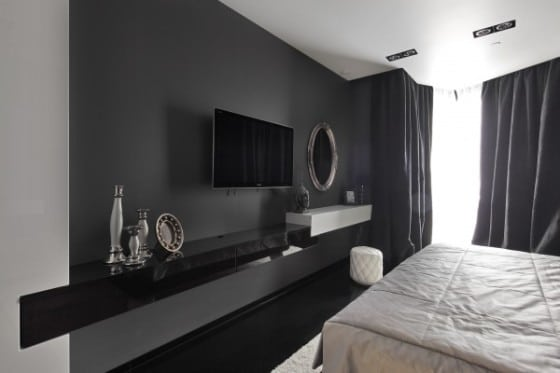 Diseño de dormitorio moderno color negro