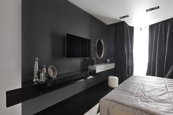 Dise o de moderno apartamento en color blanco y negro for Lenceria de dormitorio 3