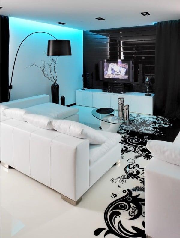 Dise O De Moderno Apartamento En Color Blanco Y Negro