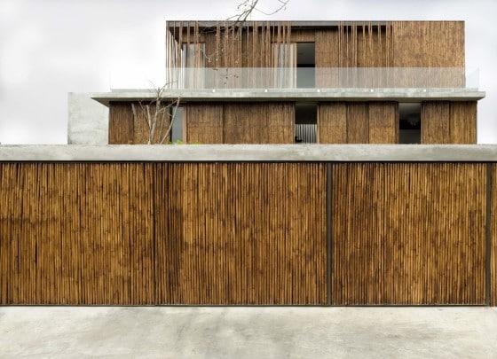 Diseño de fachada de bambú