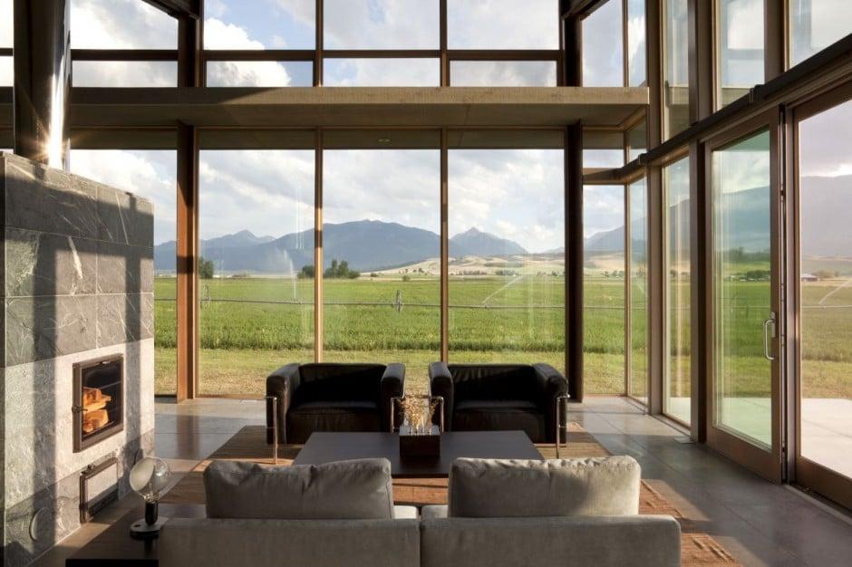 Diseo De Moderna Casa Pequea Con Grandes Ventanas