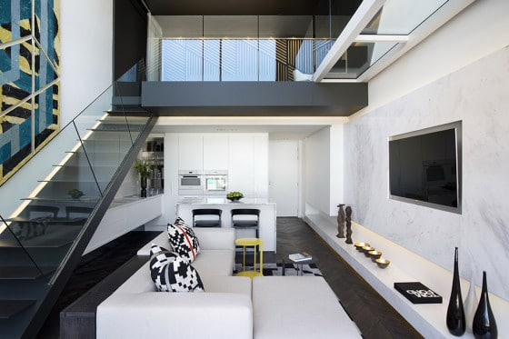 Dise o de minidepartamento moderno interiores elegante construye hogar - Mezzanine foto ...