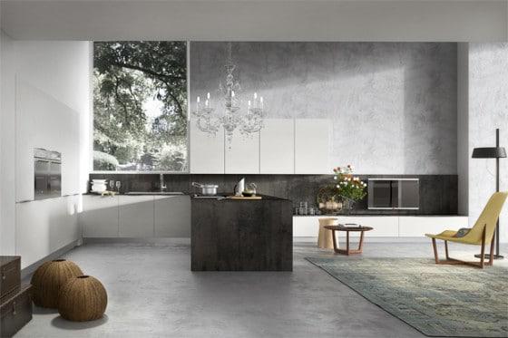 Diseño de moderna y elegante cocina con lámpara de techo