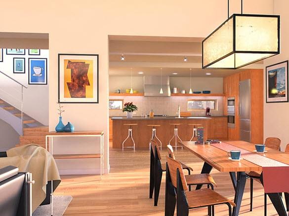 Dise o de sala comedor y cocina de casa dos pisos for Pisos para comedor
