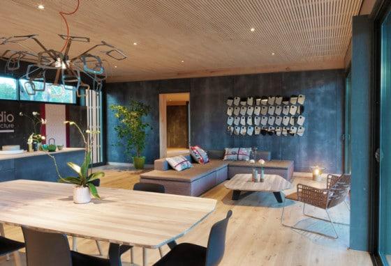 Diseño de la sala de casa pasiva prefabricada