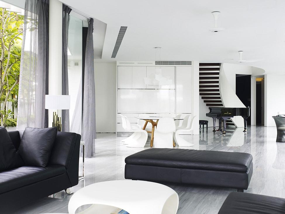 Dise o de moderna casa de dos pisos con azotea jard n for Hogar decoracion y diseno