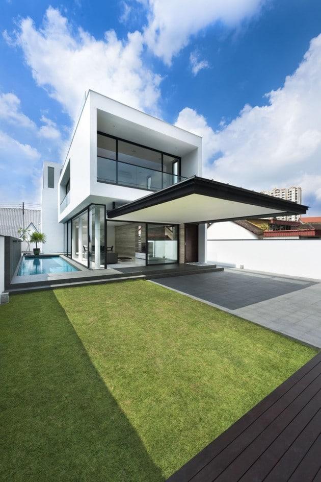 Plano de casa de dos pisos pequeña [fachada e interiores ...