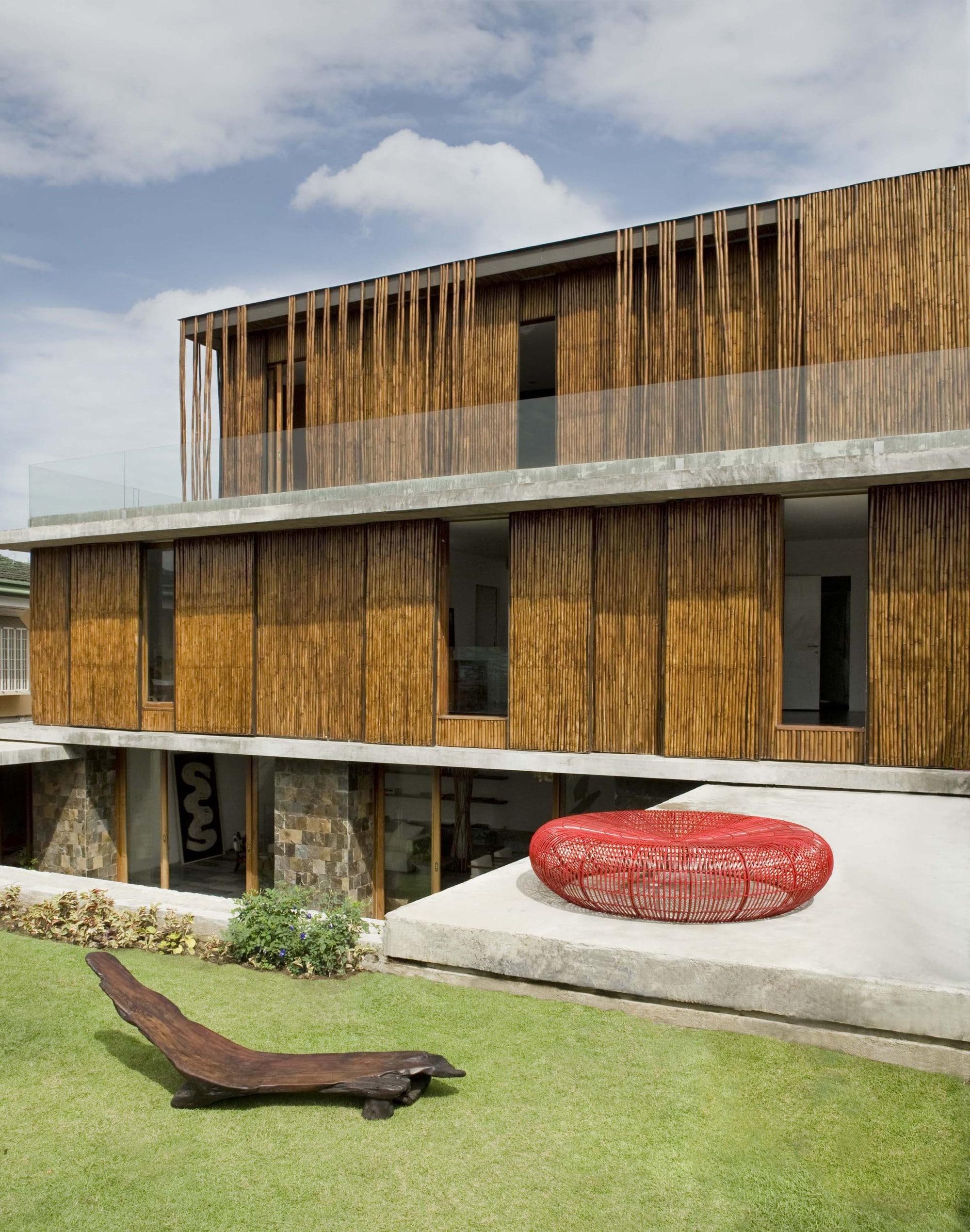 fachada de casa rstica de bamb