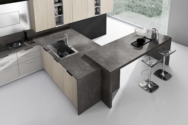 Isla de moderna cocina en color gris y madera construye for Cocinas comedor con islas modernas