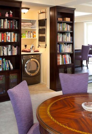 Lavandería oculta en apartamento pequeño
