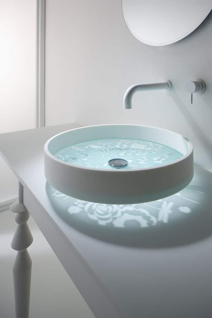 lavatorio con base de cristal