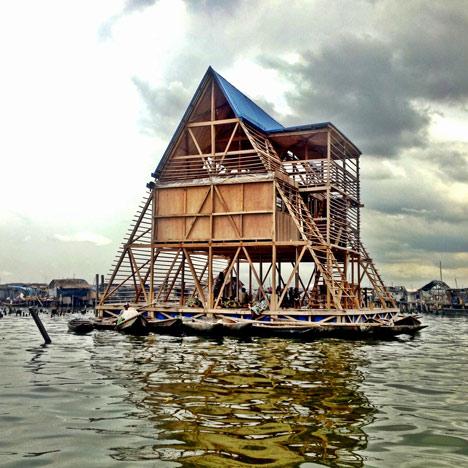 Perspectiva de vivienda flotante de madera