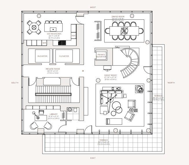 plano de apartamento de lujo piso