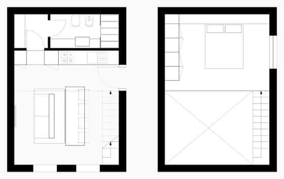 Diseño de planos de apartamentos pequeños de dos niveles