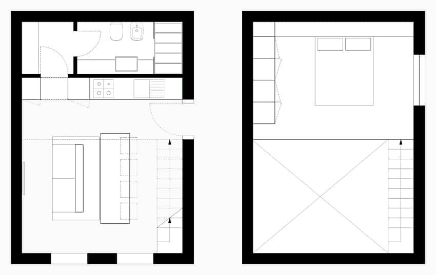 Planos de apartamentos peque os de uno y dos dormitorios for Departamentos pequenos planos