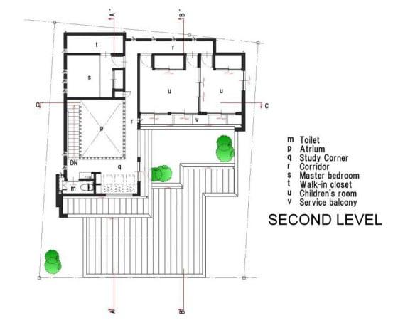Plano de casa de dos pisos segundo nivel