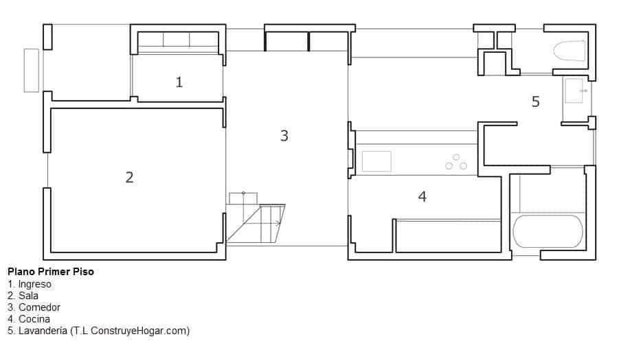 Planos de casa de dos pisos con fachada y dise o interior for Plano casa un piso