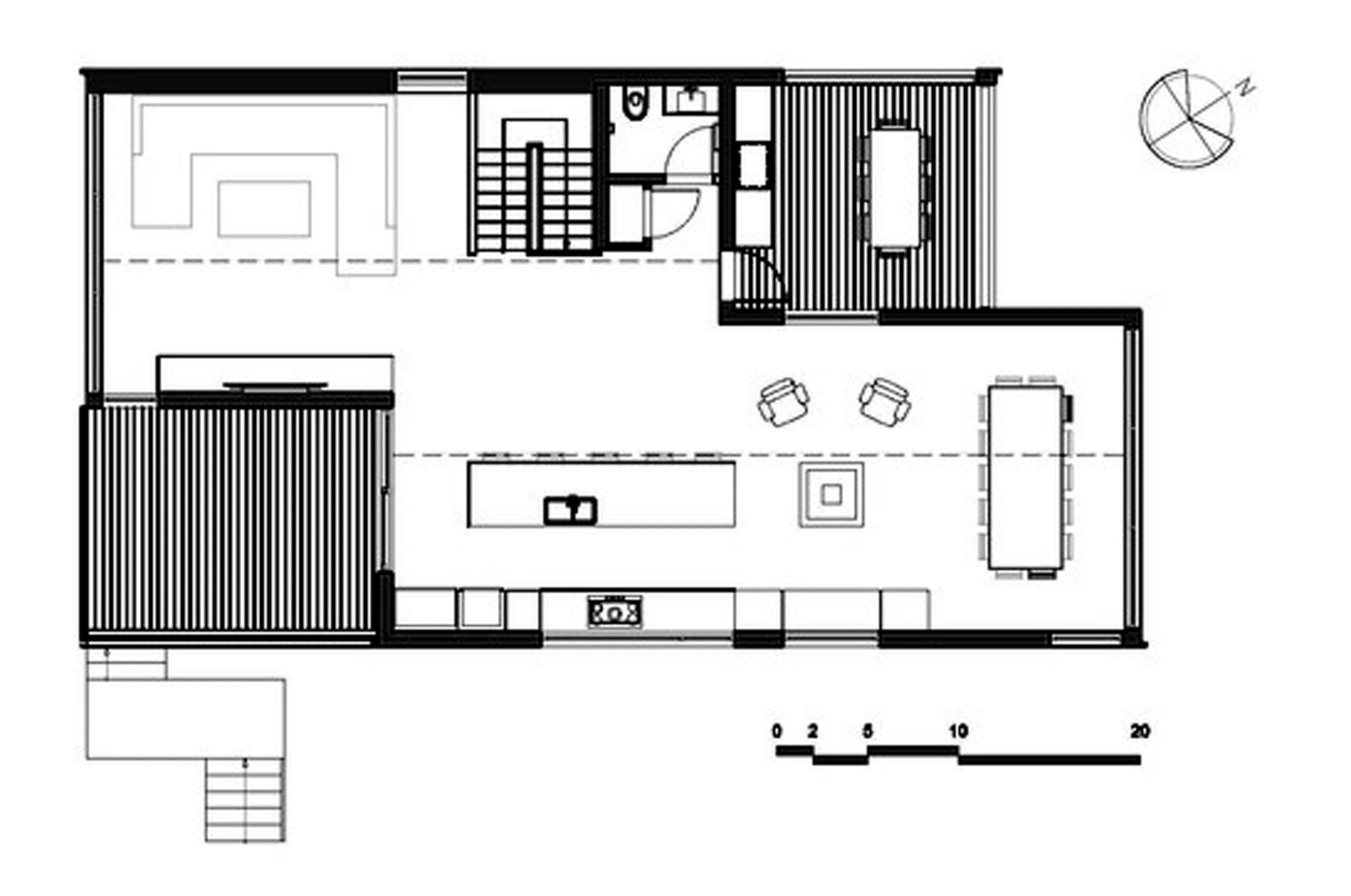 Dise o de casa moderna de dos pisos m s s tano planos for Planos de cocina en isla