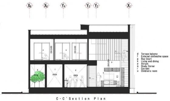 Plano de sección de casa de dos pisos cc