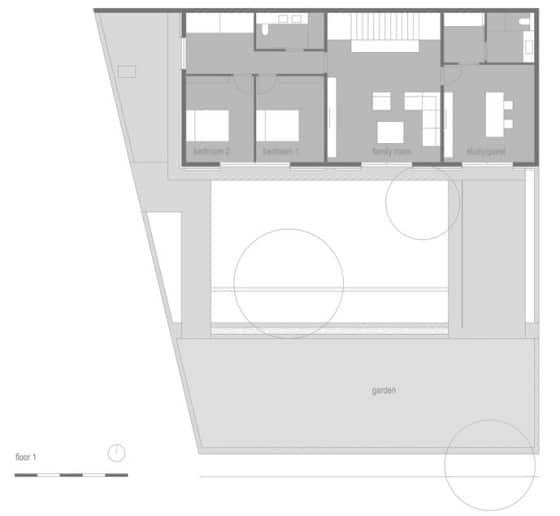 Plano del segundo nivel de casa rústica