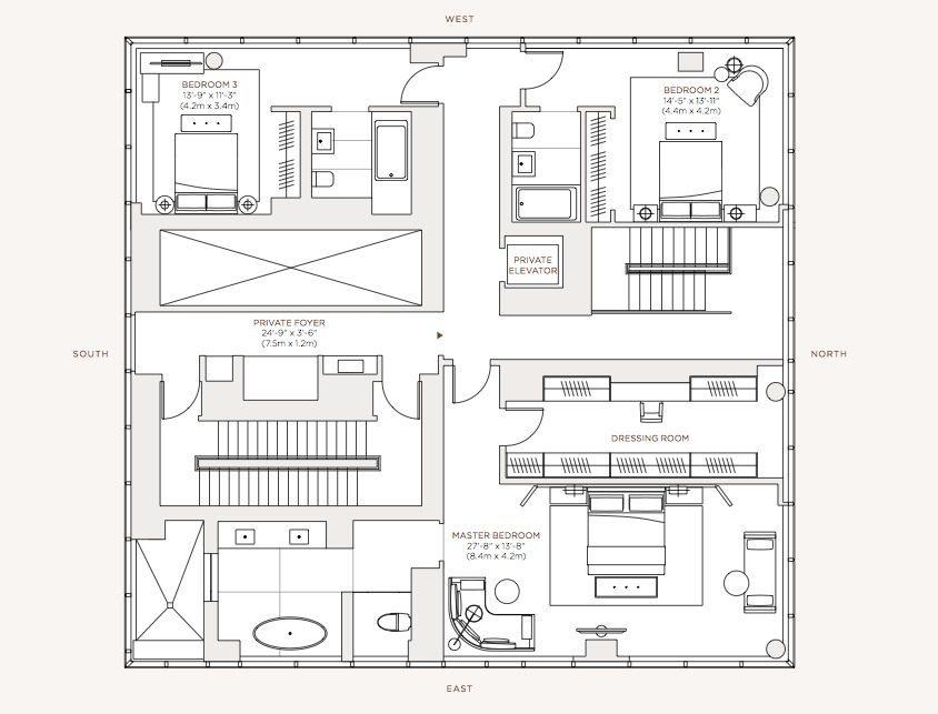 planos apartamento de lujo piso