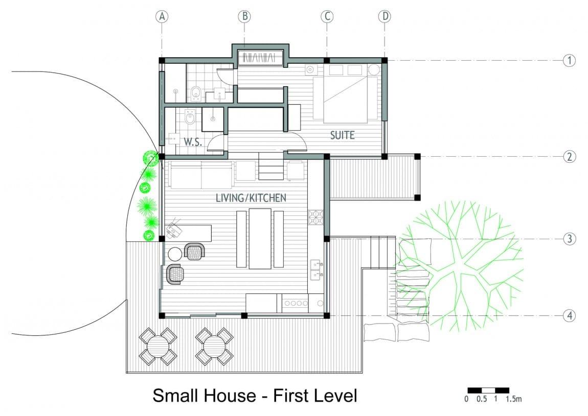 Dise o de casa de campo planos interior y fachadas for Plano casa campo