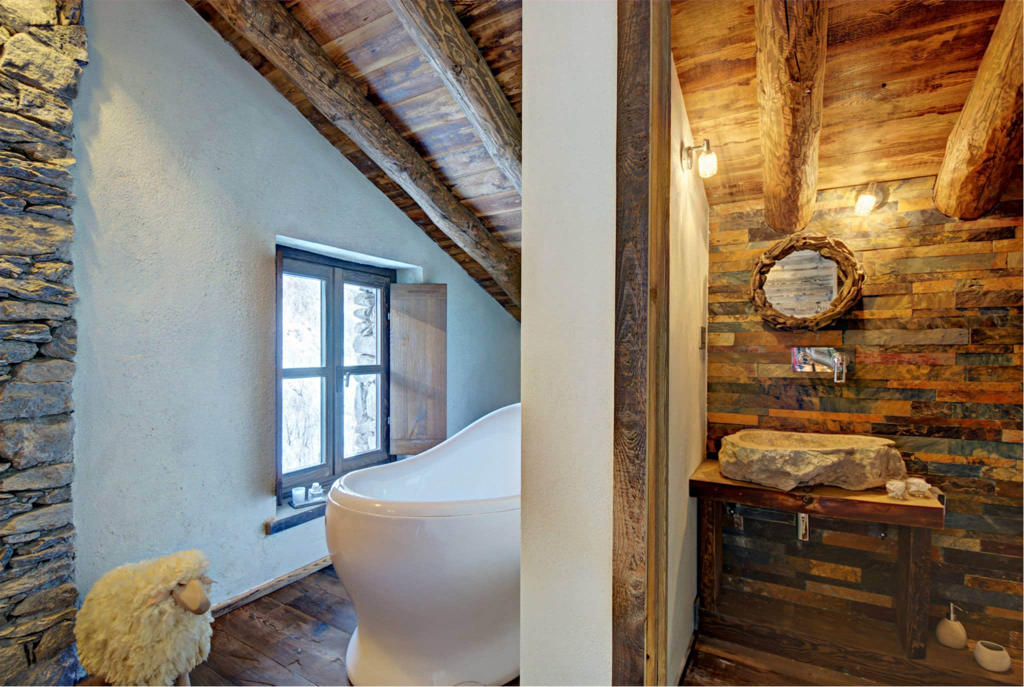 Decoracion De Baño Rustico:Diseño de interiores rústico uso de madera y piedra