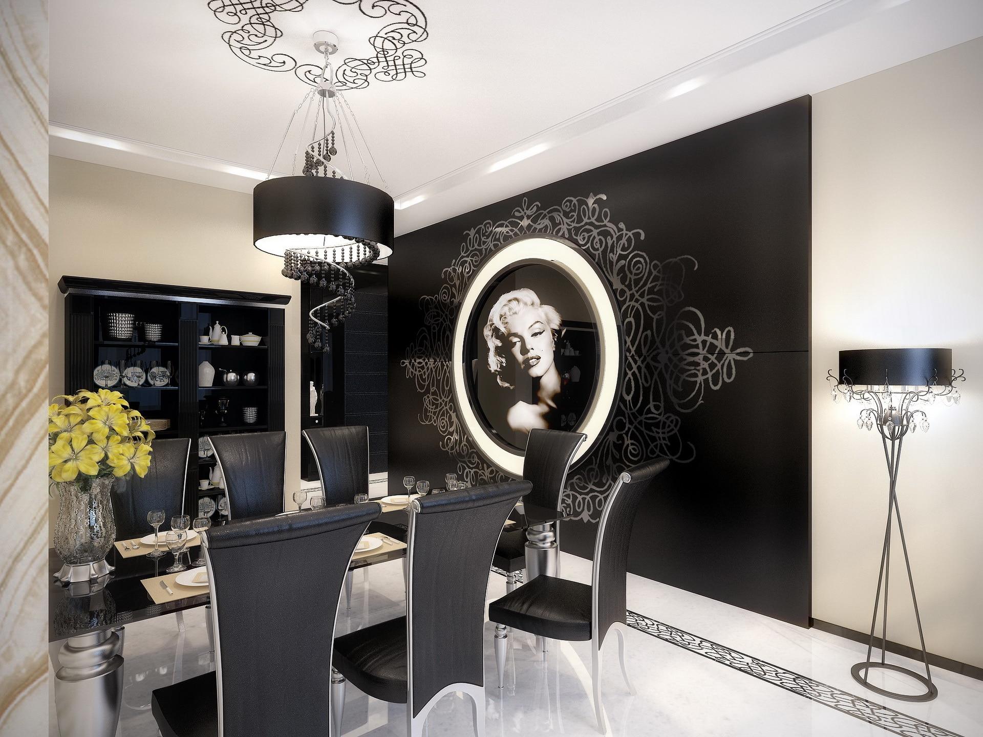 diseo de comedor estilo retro con sillas negras y paredes con cuadros antiguos