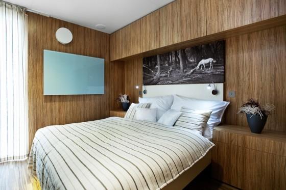 Diseño de dormitorio de casa prefabricada de madera