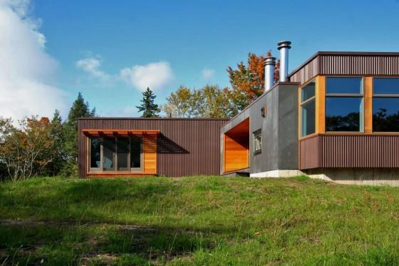 Diseño de fachada de casa en forma de L