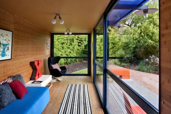 Diseño de interiores de sala de casa contenedor