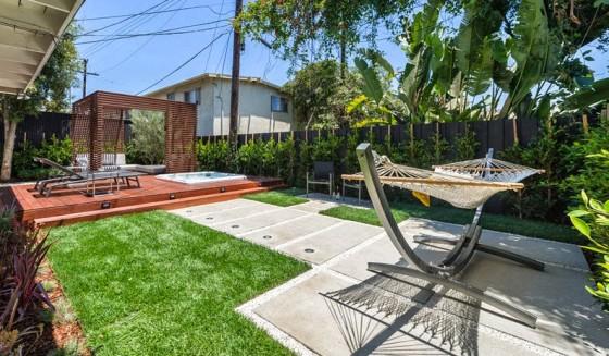 Diseño de terraza moderna con hamaca