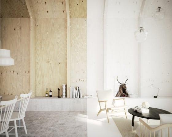 Enchapado de madera en diseño de interiores