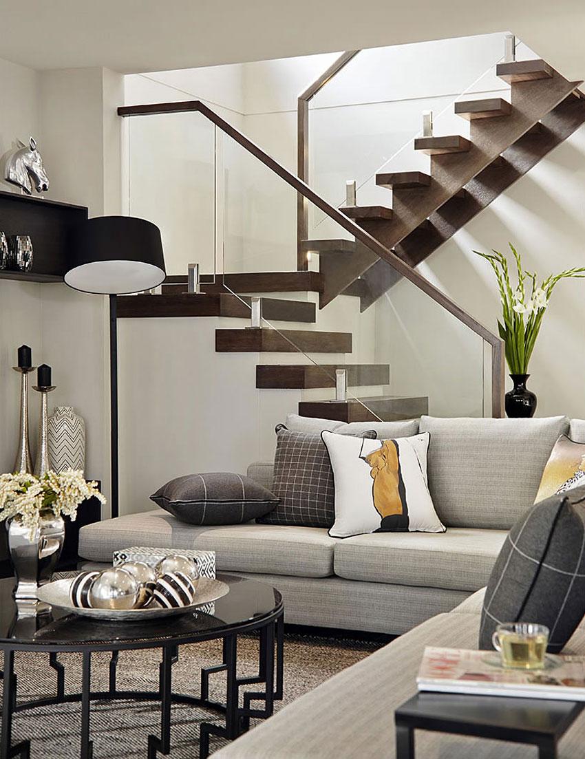 Casa de dos pisos moderna fachada y dise o de interiores for Escaleras en salas
