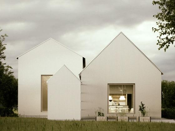 Reluciente fachada de casa de aluminio corrugado